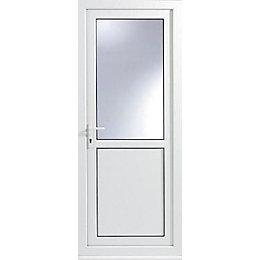 White PVCu Half Glazed Back Door & Frame