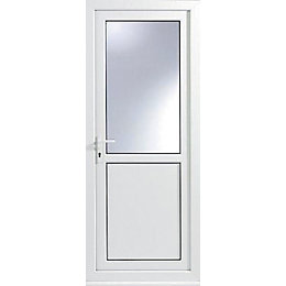 White PVCu Half Glazed External Back Door &