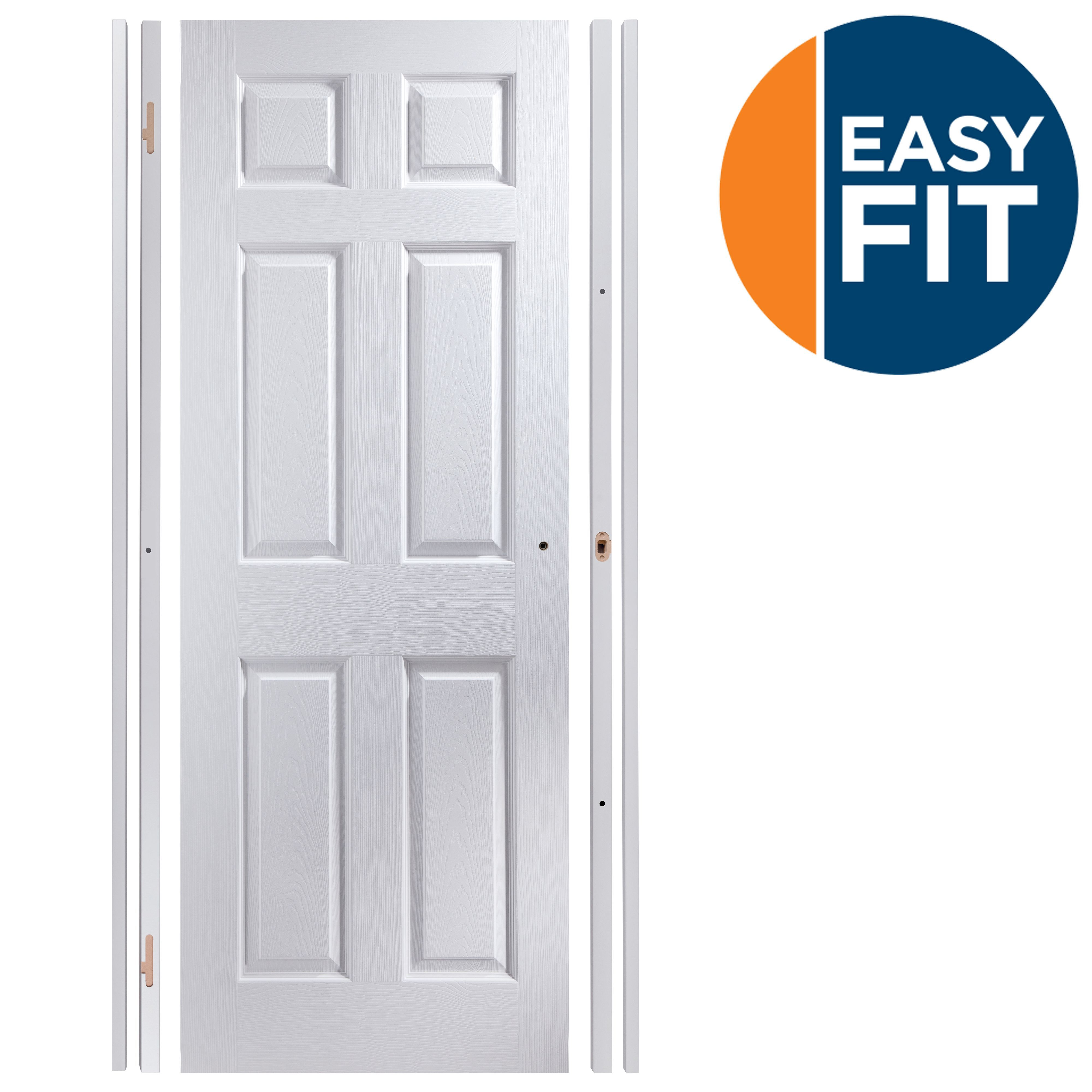 6 panel pre painted white unglazed internal door kit for - Pre painted white interior doors ...