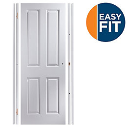 4 Panel Pre-Painted White Unglazed Internal Door Kit,