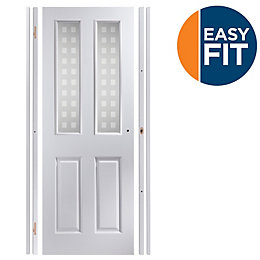 4 Panel Pre-Painted White Glazed Internal Door Kit,