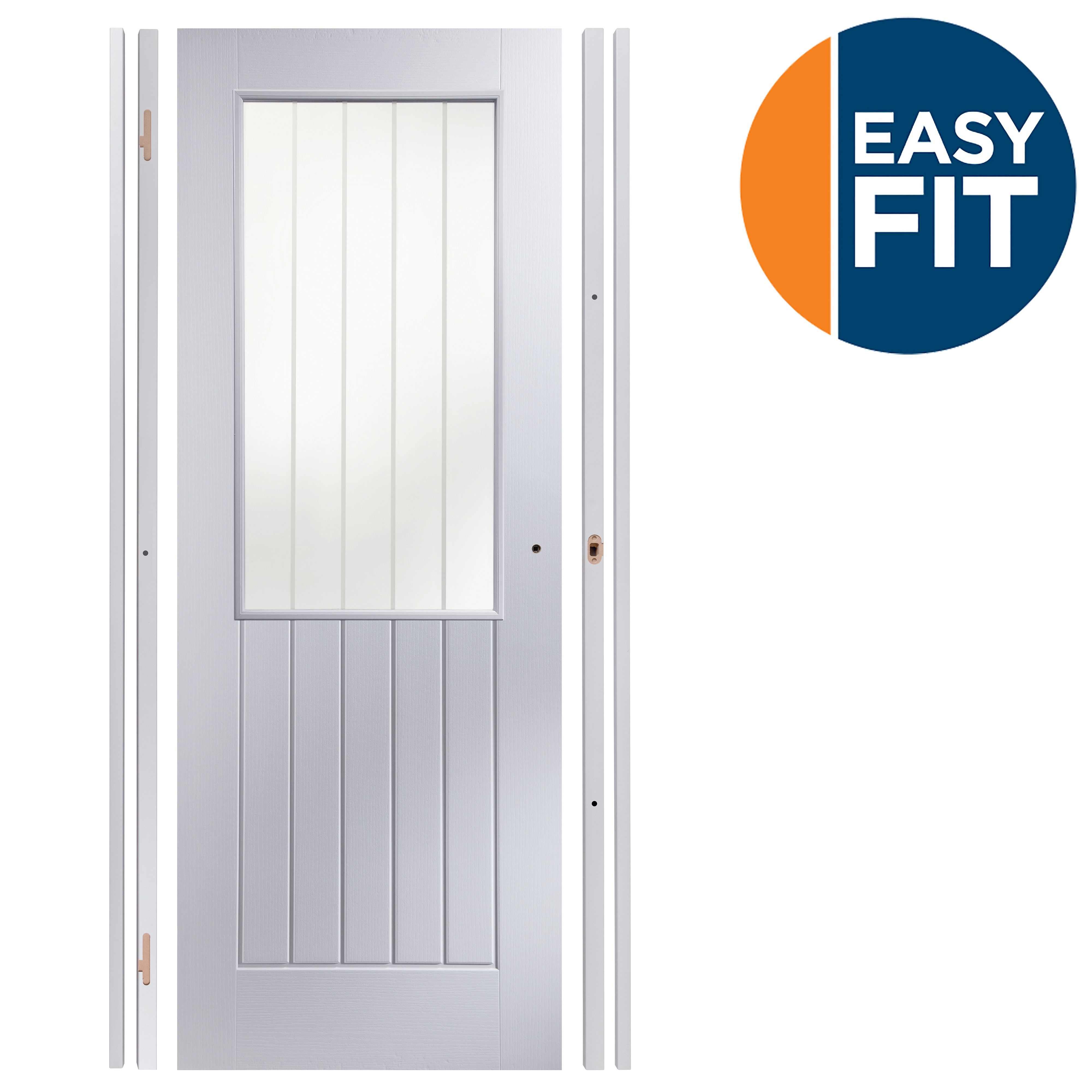 Easy Fit Panelled Pre-painted Glazed Internal Door Kit, For Opening Sizes (w)759-771mm (h)1988-1996mm (d)35mm