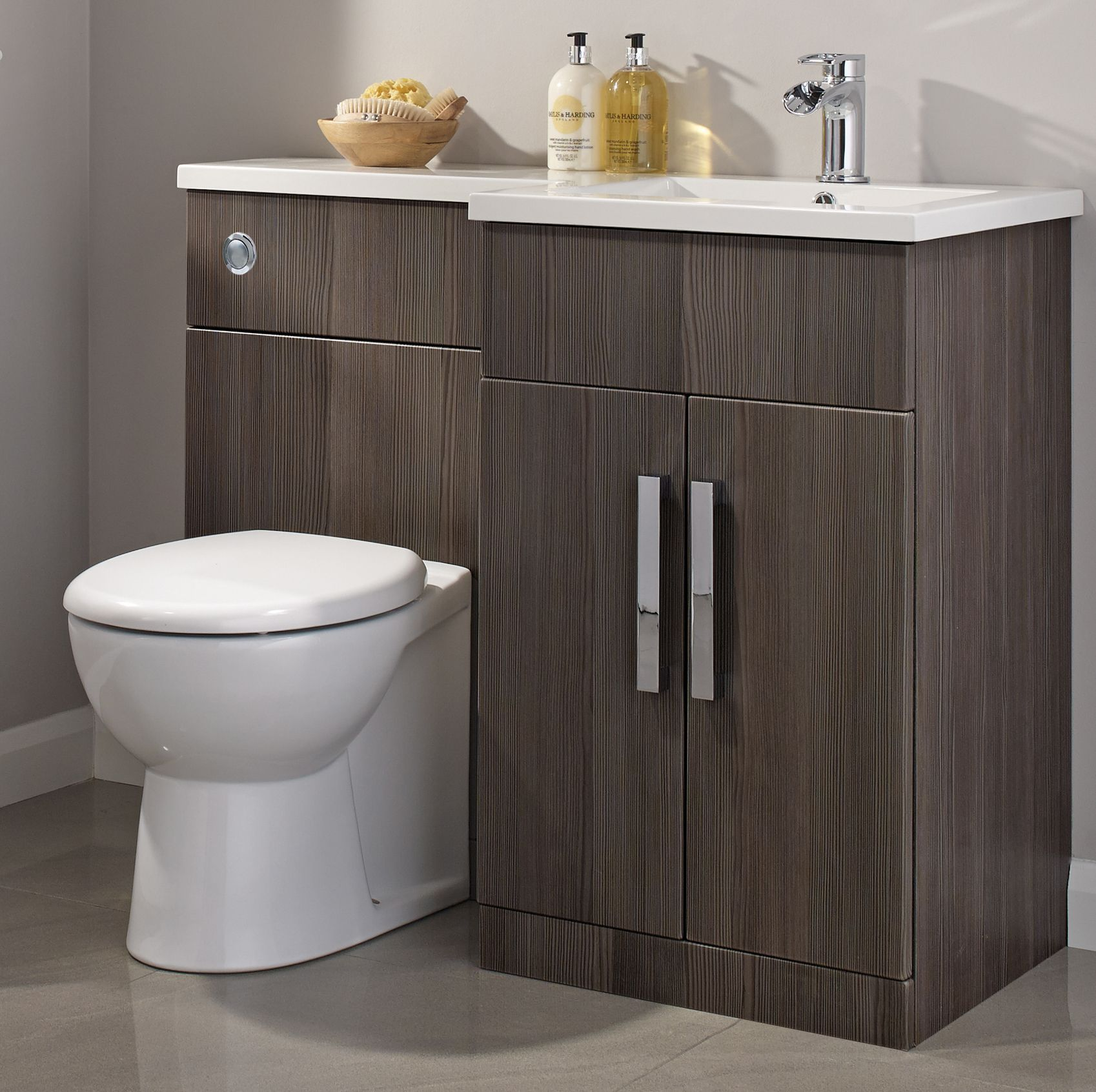 Cooke lewis ardesio bodega grey rh vanity toilet pack for Bathroom storage ideas john lewis