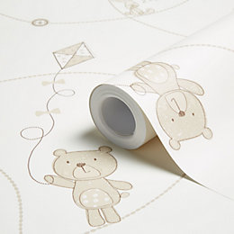 Baby Colours Beige Little Teddy Wallpaper