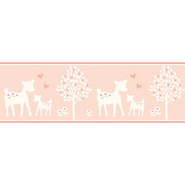 Baby Colours Little Deer Pink Border