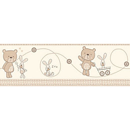 Baby Colours Little Teddy Beige Border