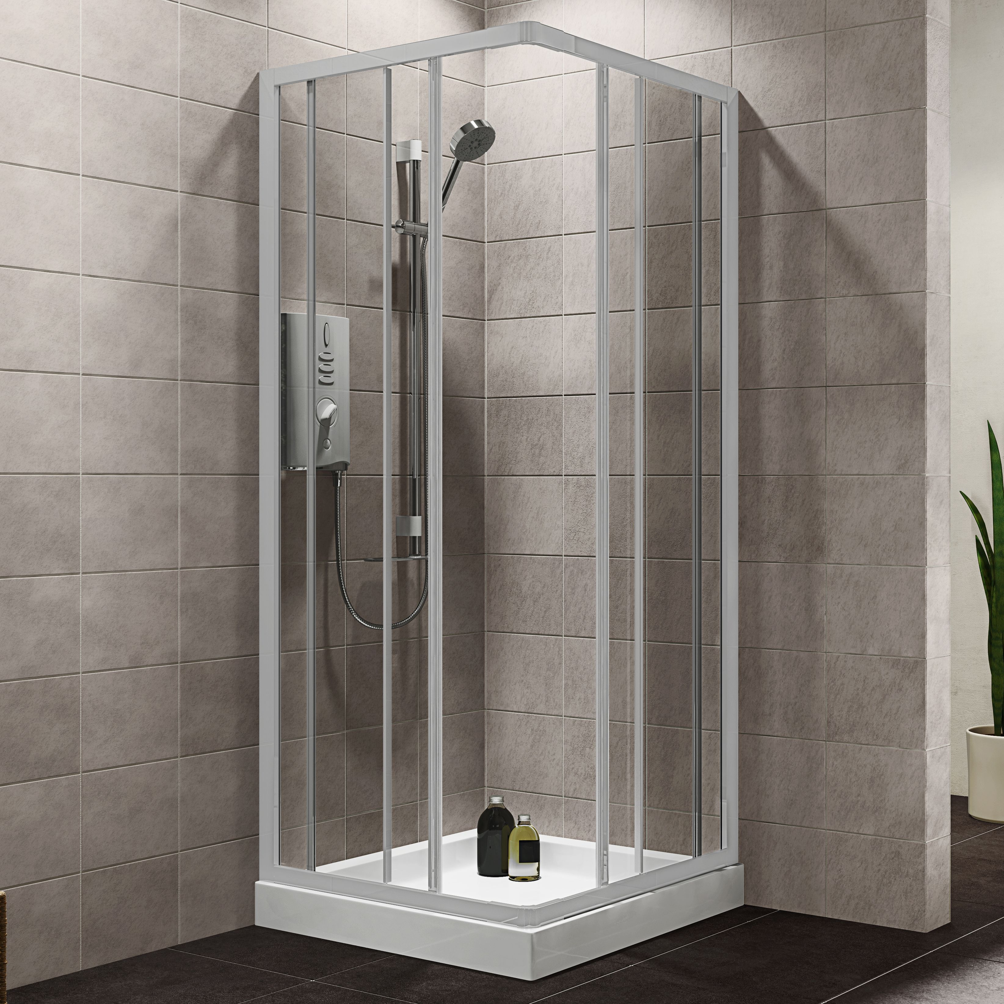Plumbsure Square Shower Enclosure With White Frame & Double Sliding Doors (w)760-800mm (d)760-800mm