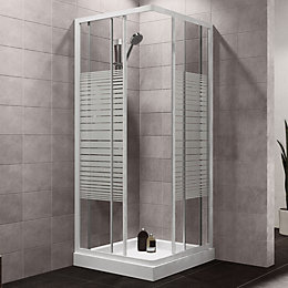 Plumbsure Square Shower Enclosure with White Frame &