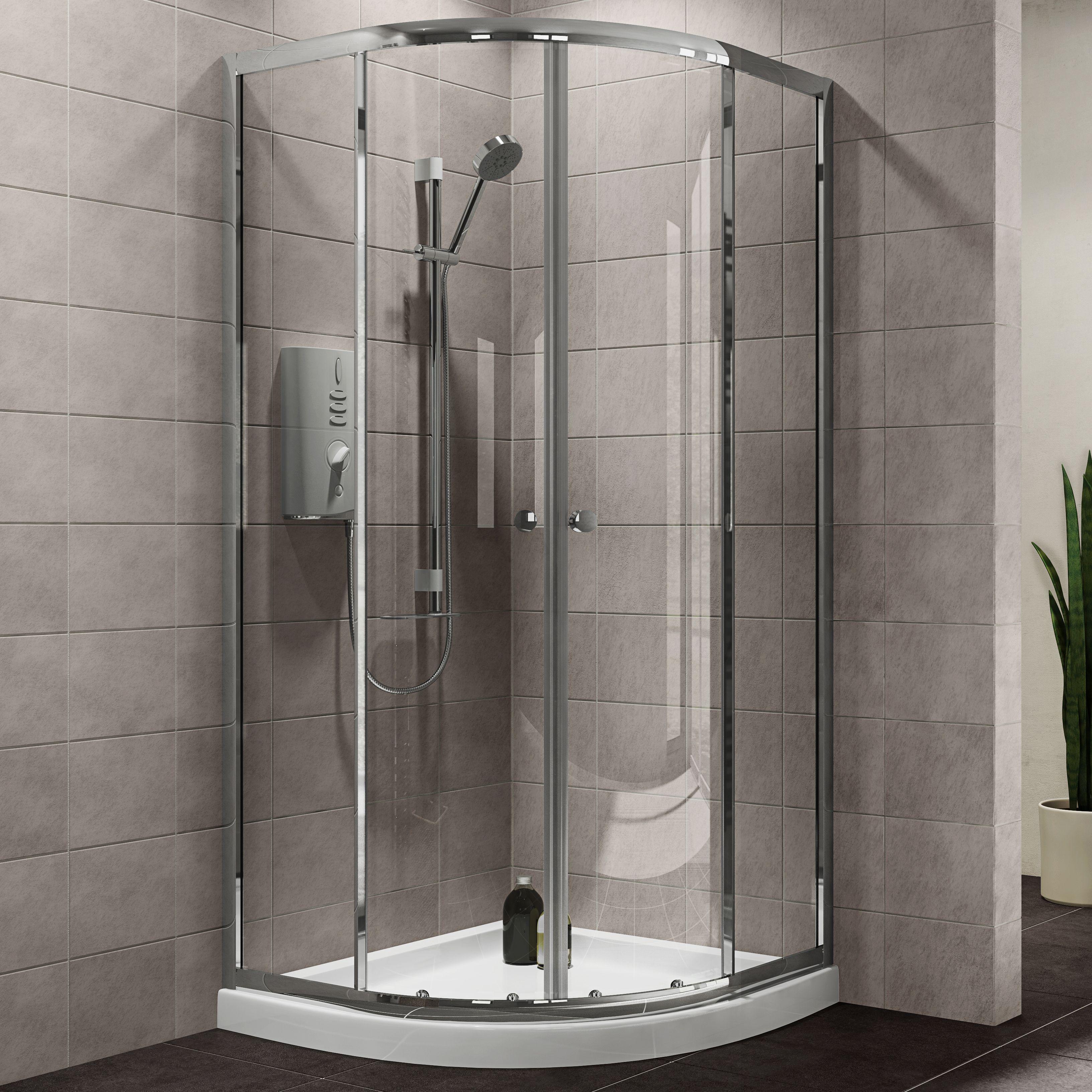 Plumbsure Quadrant Shower Enclosure With Double Sliding Doors (w)800mm (d)800mm