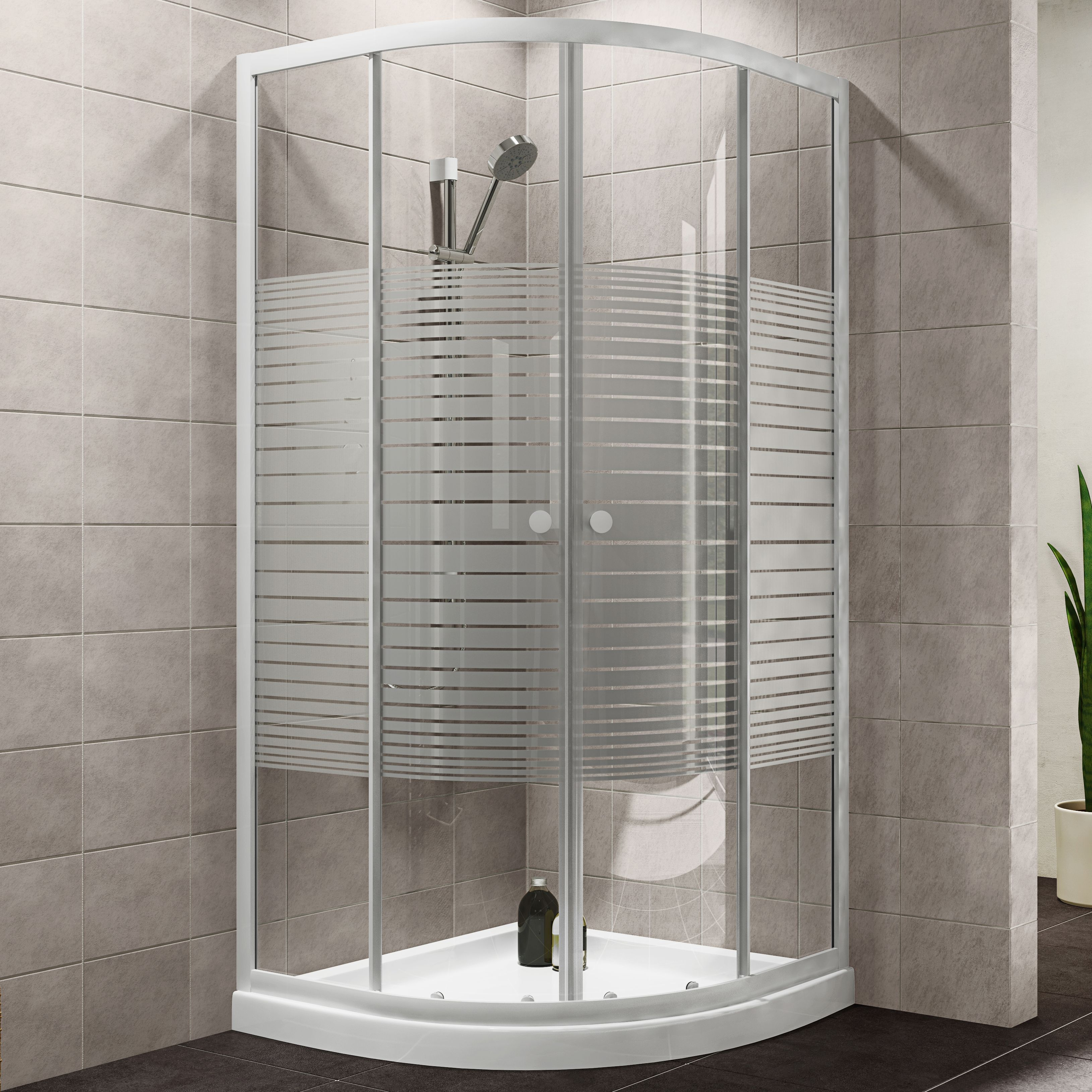 Plumbsure Quadrant Shower Enclosure with White Frame   Double Sliding Doors   W 800mm  D 800mm   Departments   DIY at B Q. Plumbsure Quadrant Shower Enclosure with White Frame   Double