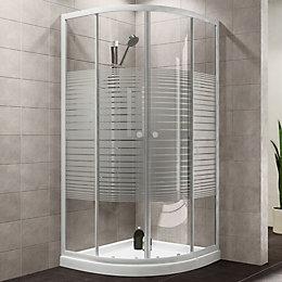Plumbsure Quadrant Shower Enclosure with White Frame &