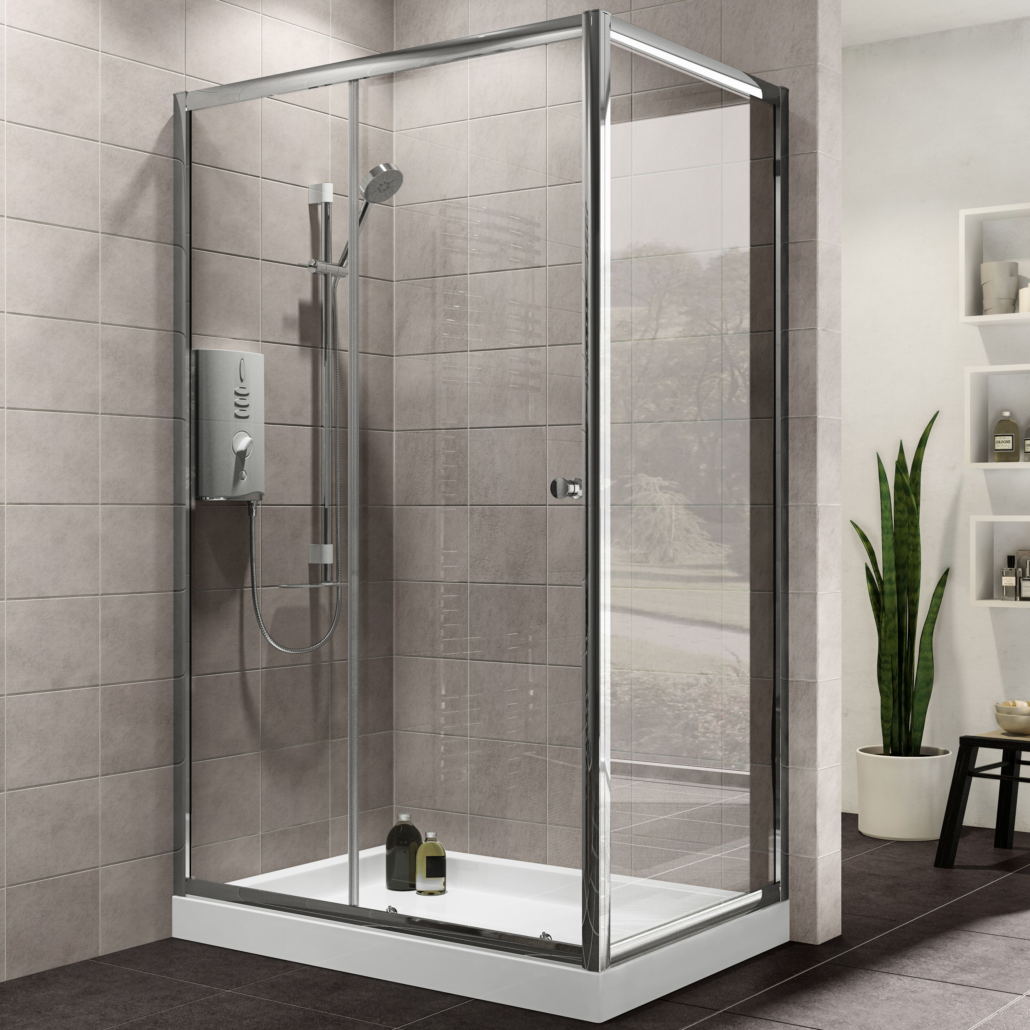 Omega Kitchen Cabinets Plumbsure Rectangular Shower Enclosure With Single Sliding