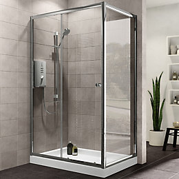Plumbsure Rectangular Shower Enclosure with Single Sliding Door