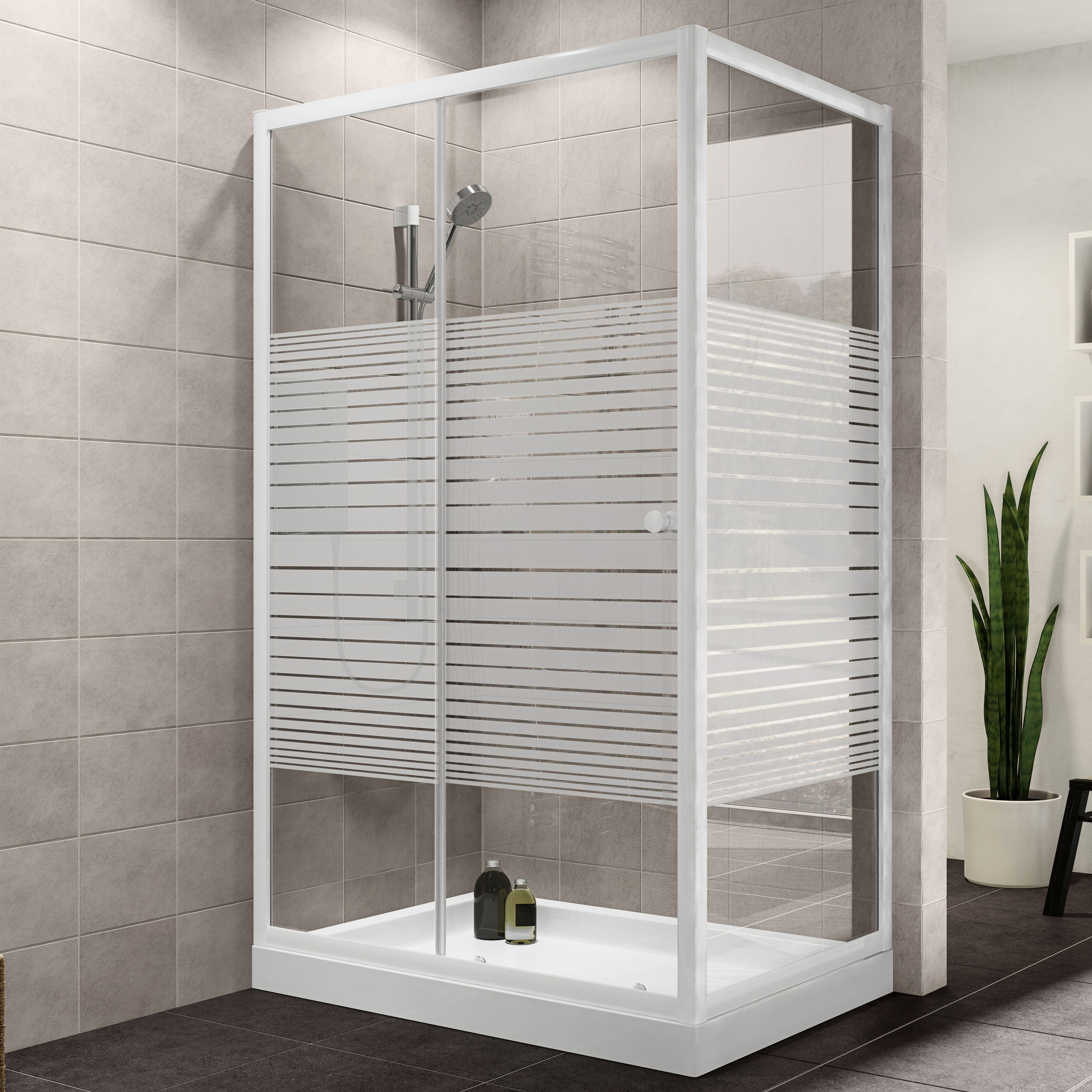 Plumbsure Rectangular Shower Enclosure With White Frame