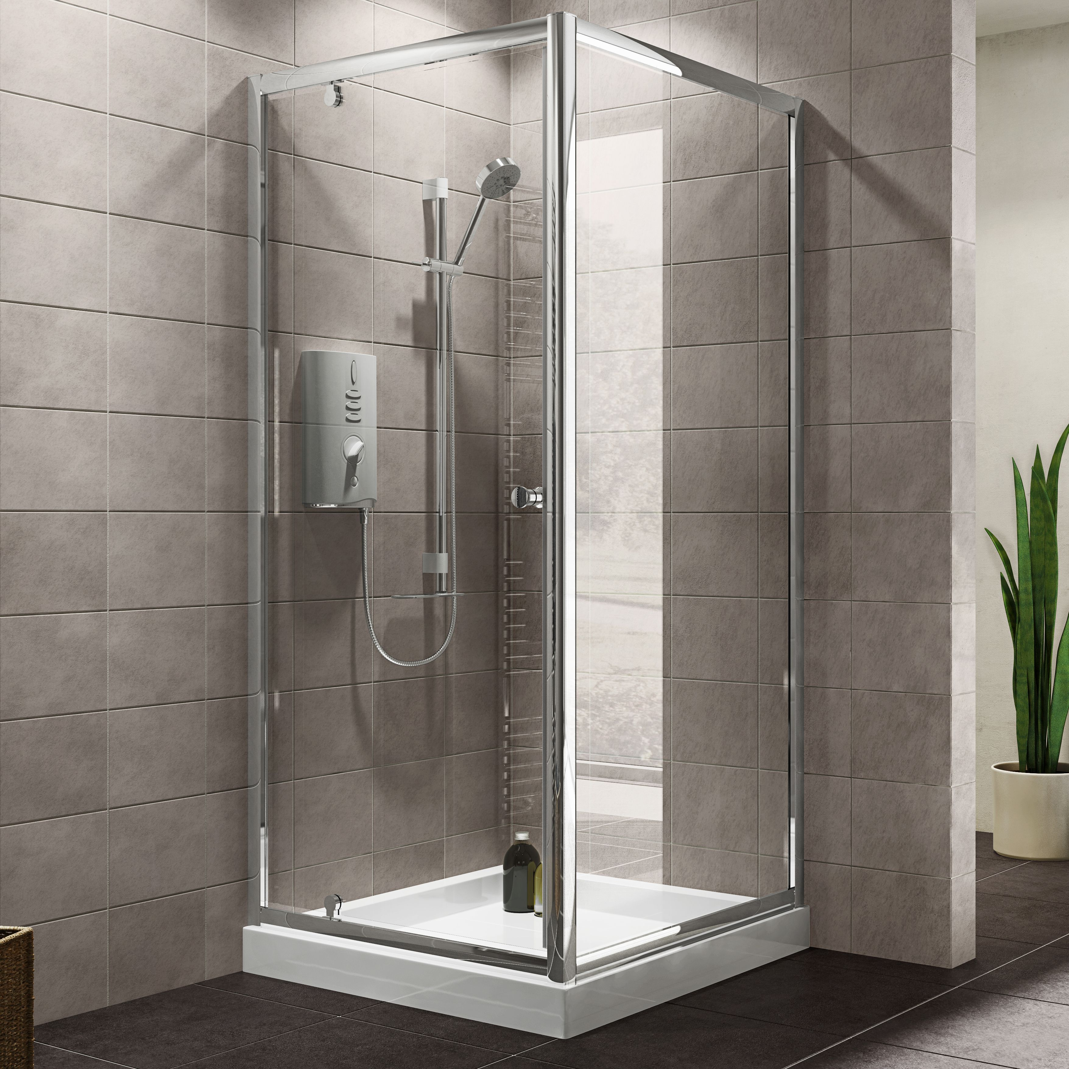 Plumbsure Square Shower Enclosure With Pivot Door (w)800mm (d)800mm