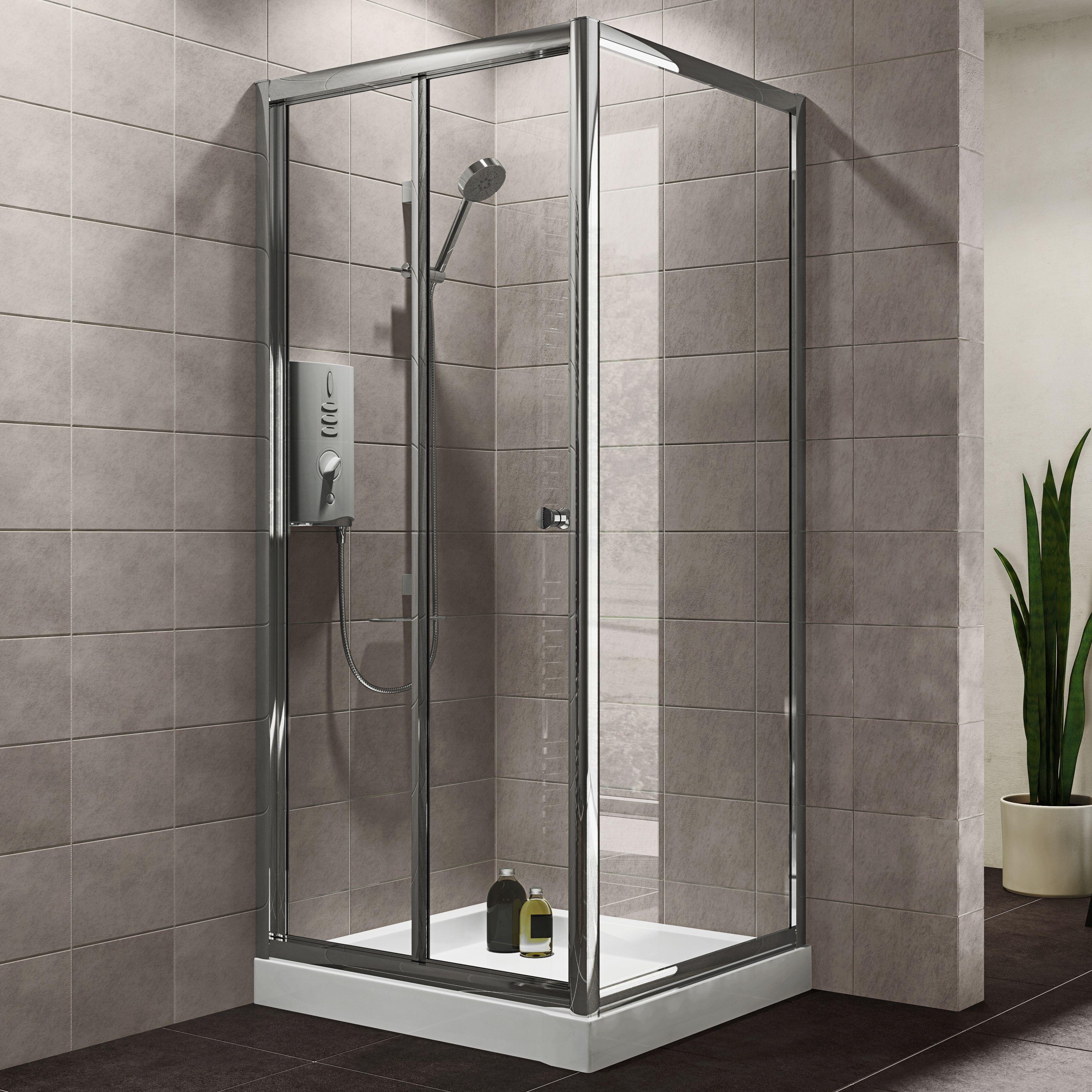 Plumbsure Square Shower Enclosure With Bi-fold Door (w)800mm (d)800mm