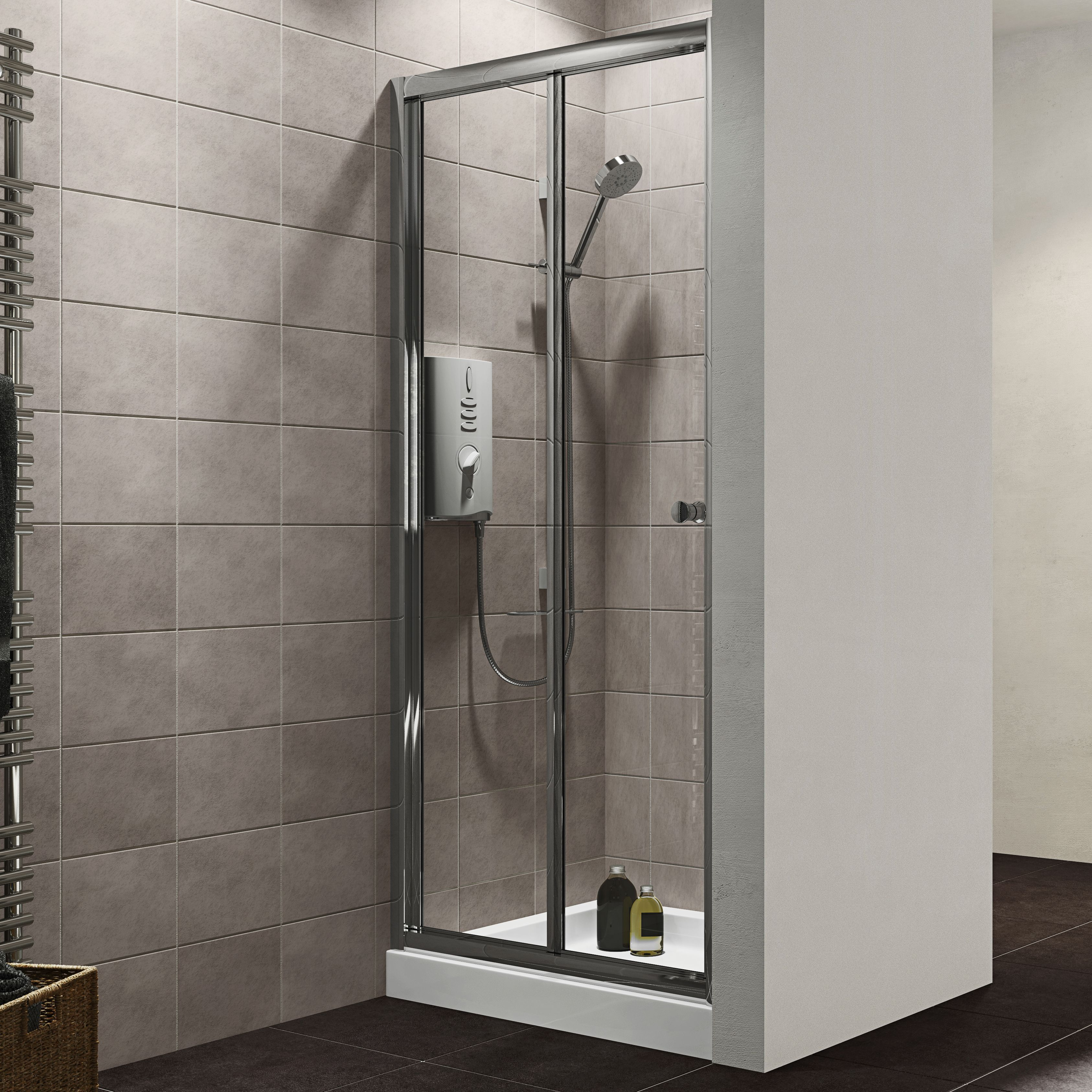 Bq It Kitchen Doors Plumbsure Bi Fold Shower Door W800mm Departments Diy At Bq