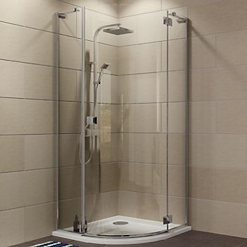 Frameless quadrant shower