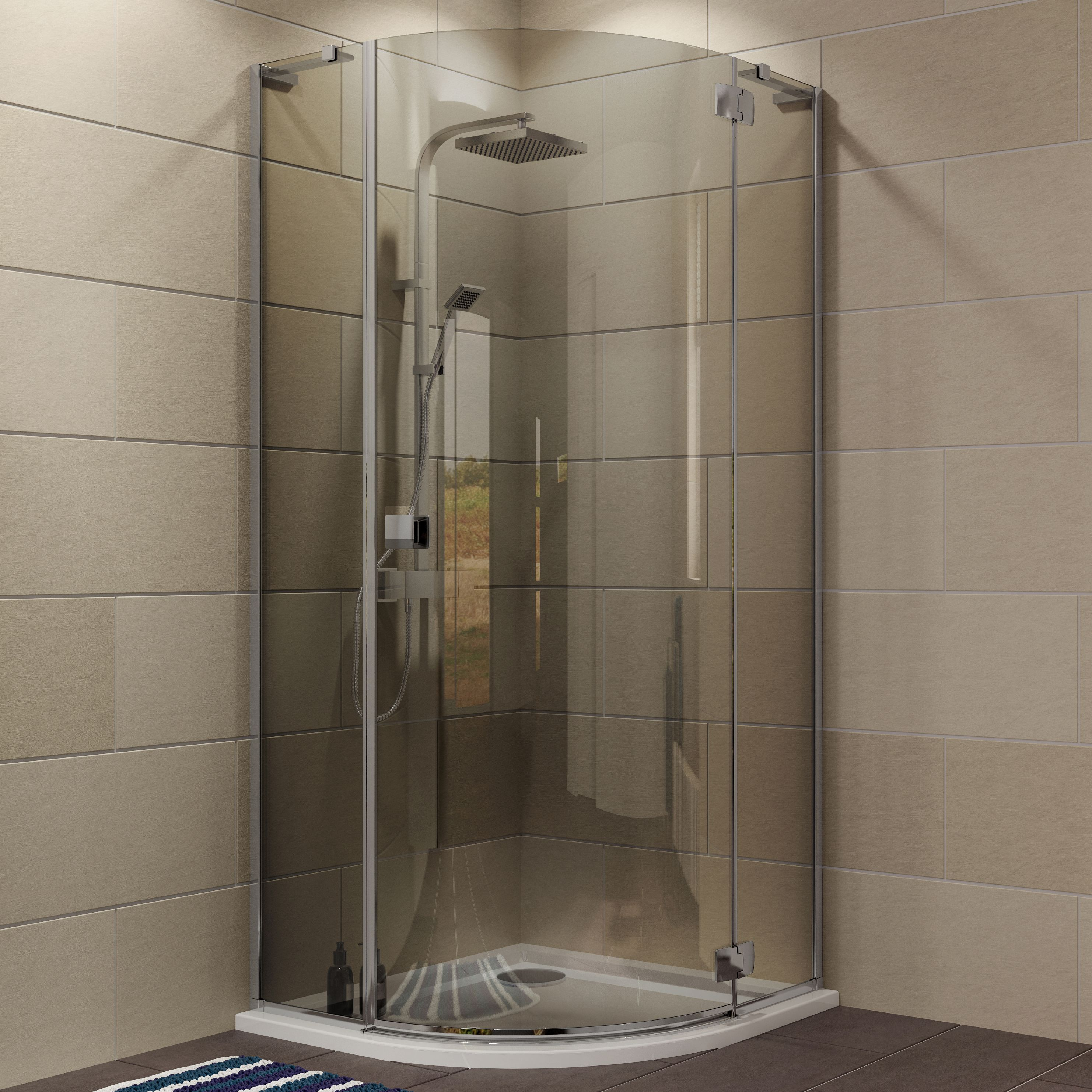 cooke u0026 lewis luxuriant quadrant shower enclosure with hinged door u0026 smoked glass w900mm d900mm departments diy at bu0026q
