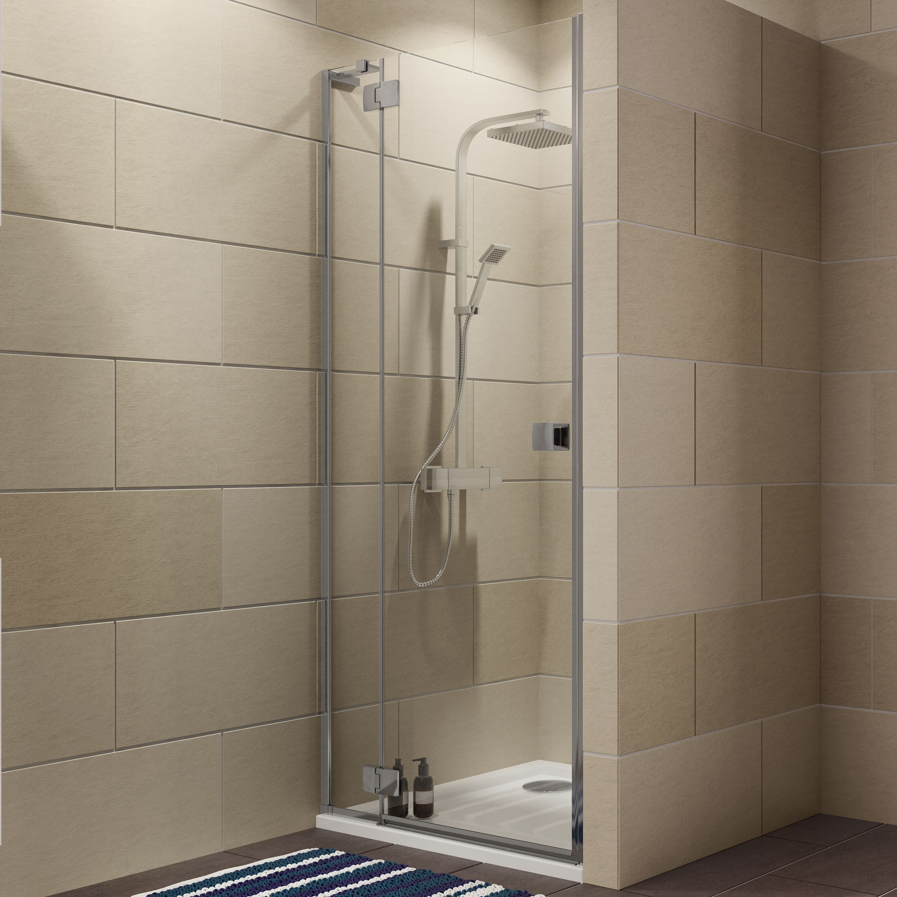 Cooke & Lewis Luxuriant Hinged Shower Door (W)900mm | Departments | DIY at  B&Q