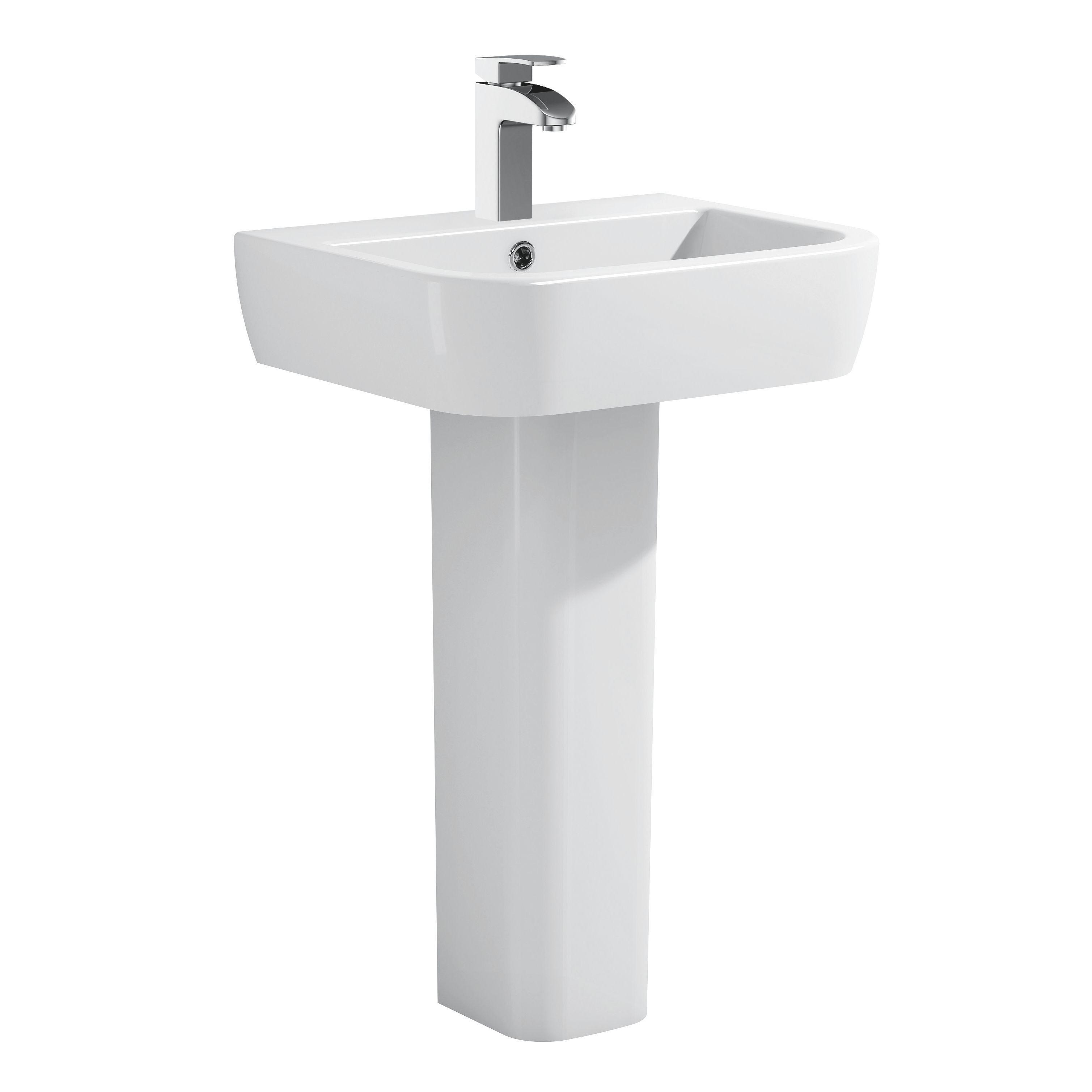 Glass Bathroom Sinks B&Q cooke & lewis affini square full pedestal basin | departments