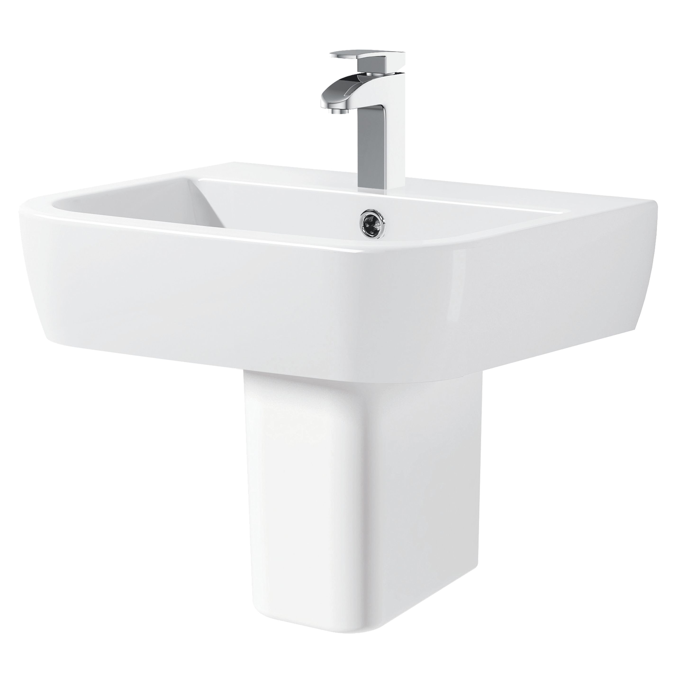 Bathroom Sinks B&Q Ireland cooke & lewis affini square semi pedestal basin | departments