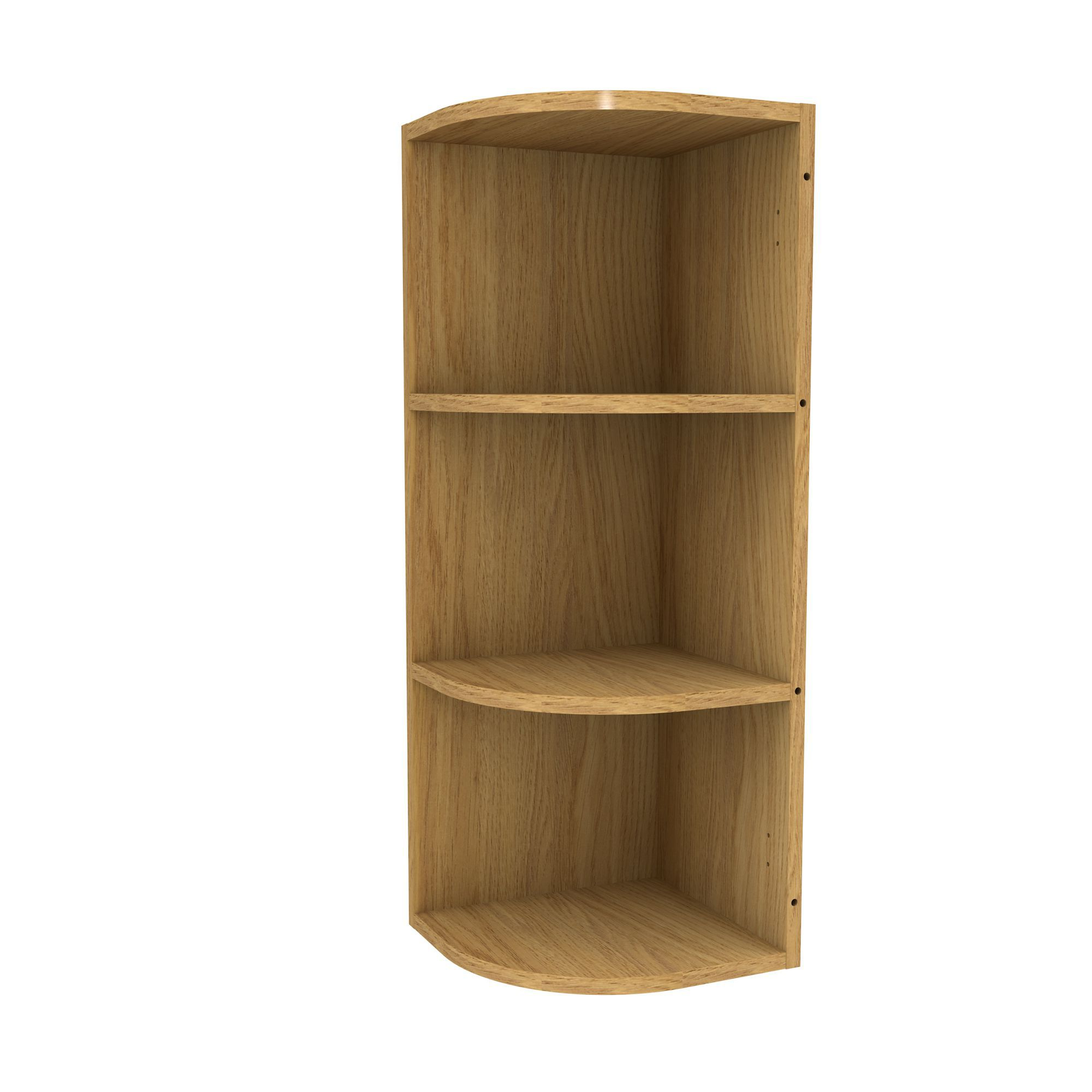 Cooke lewis oak effect curved end tall wall cabinet w for Oak effect kitchen wall units