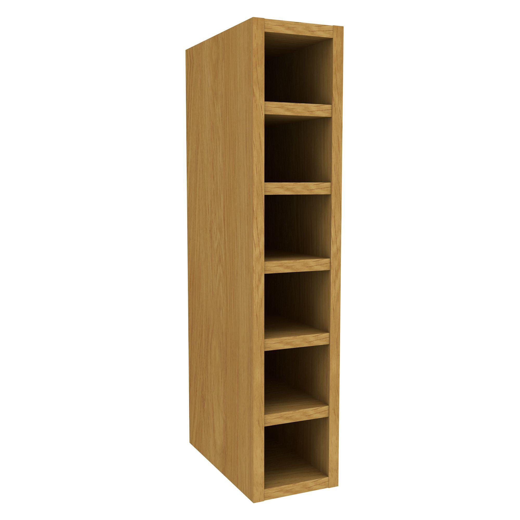 Cooke lewis oak effect wine rack wall cabinet w 150mm for Building a wine rack in a cabinet
