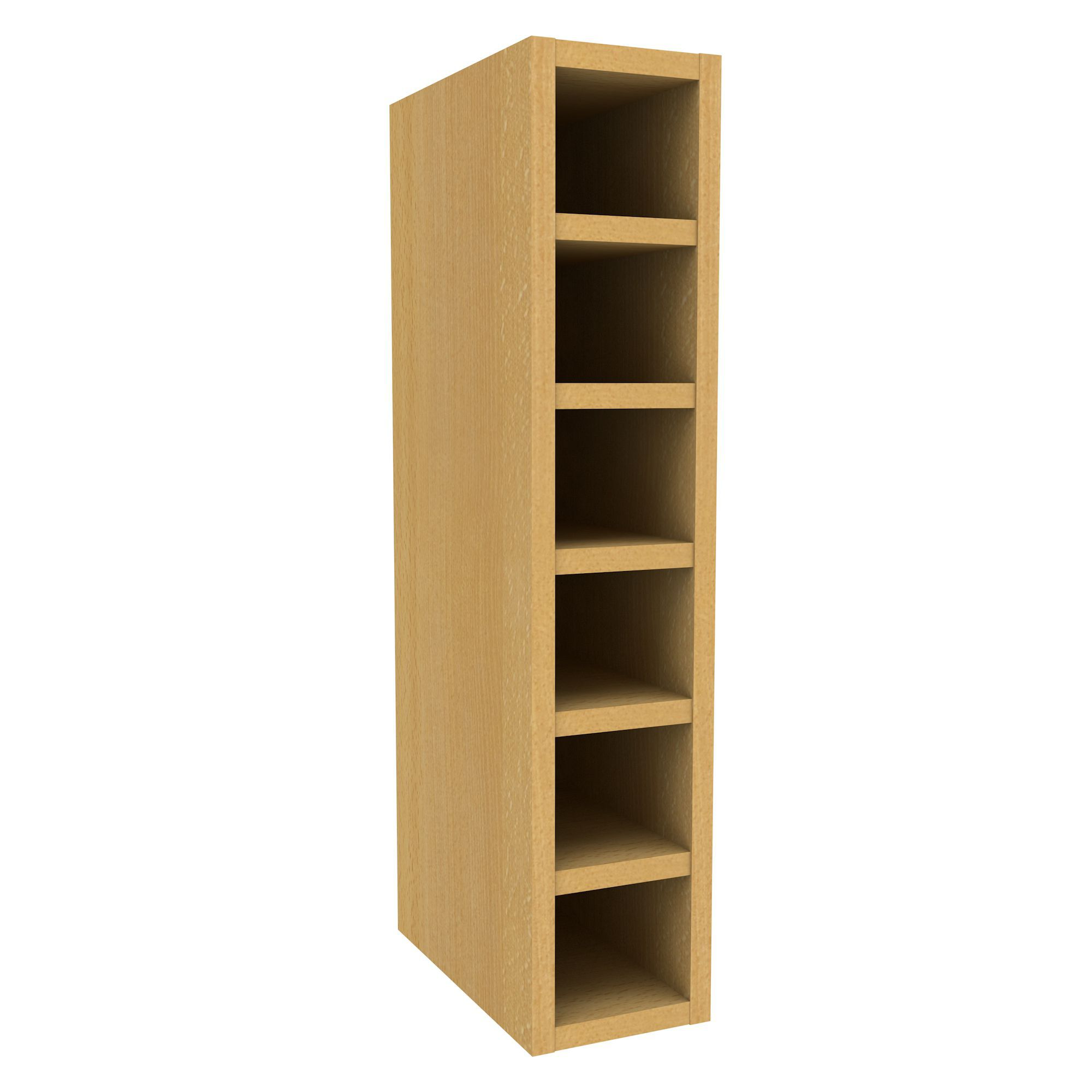 Cooke lewis beech effect wine rack wall cabinet w 150mm for Slim kitchen wall cabinets