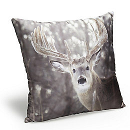 Huntingdon Photographic Stag Grey Cushion