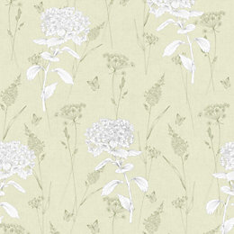 Colours Hydrangea Green Floral Wallpaper