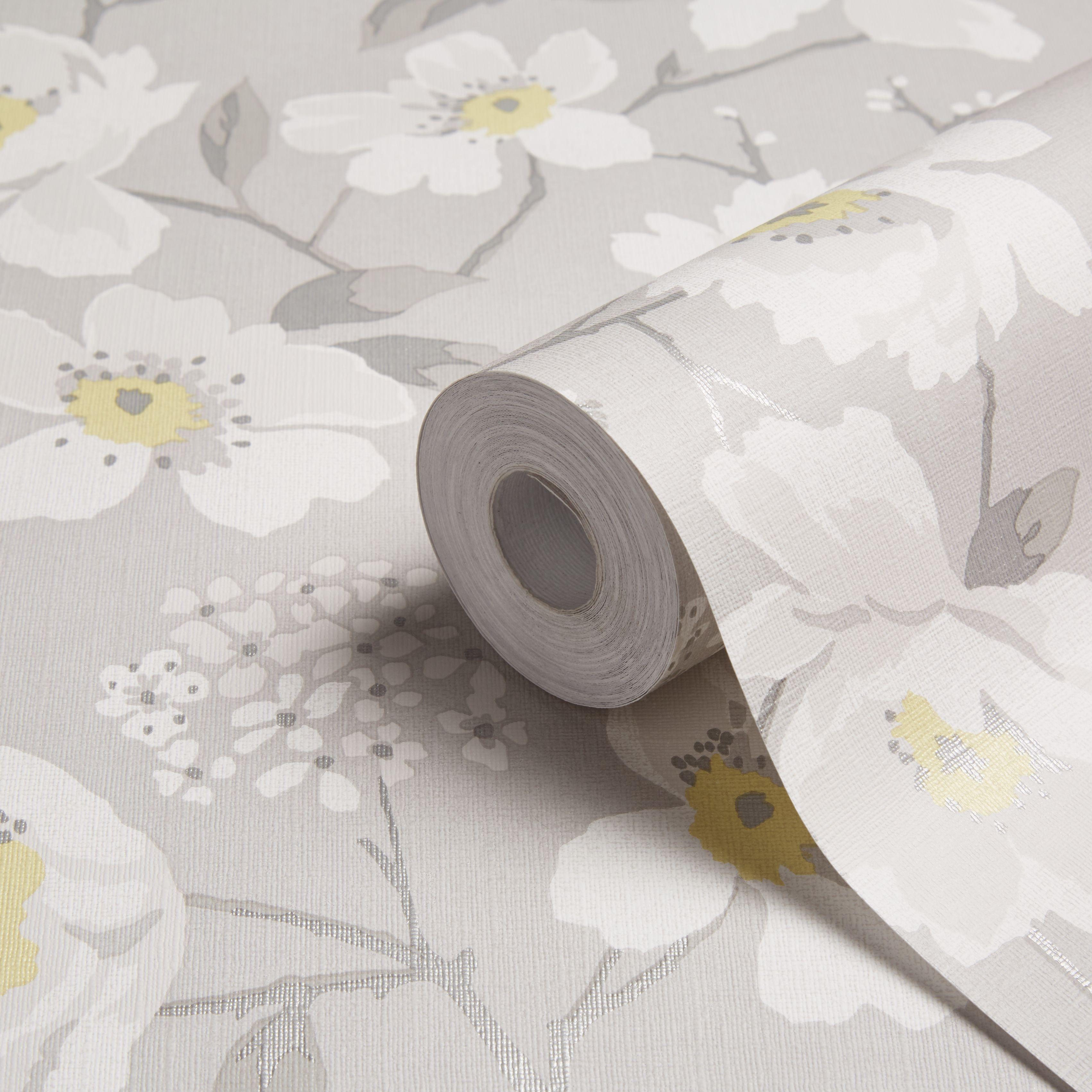 colours mandalyn grey floral wallpaper departments diy. Black Bedroom Furniture Sets. Home Design Ideas