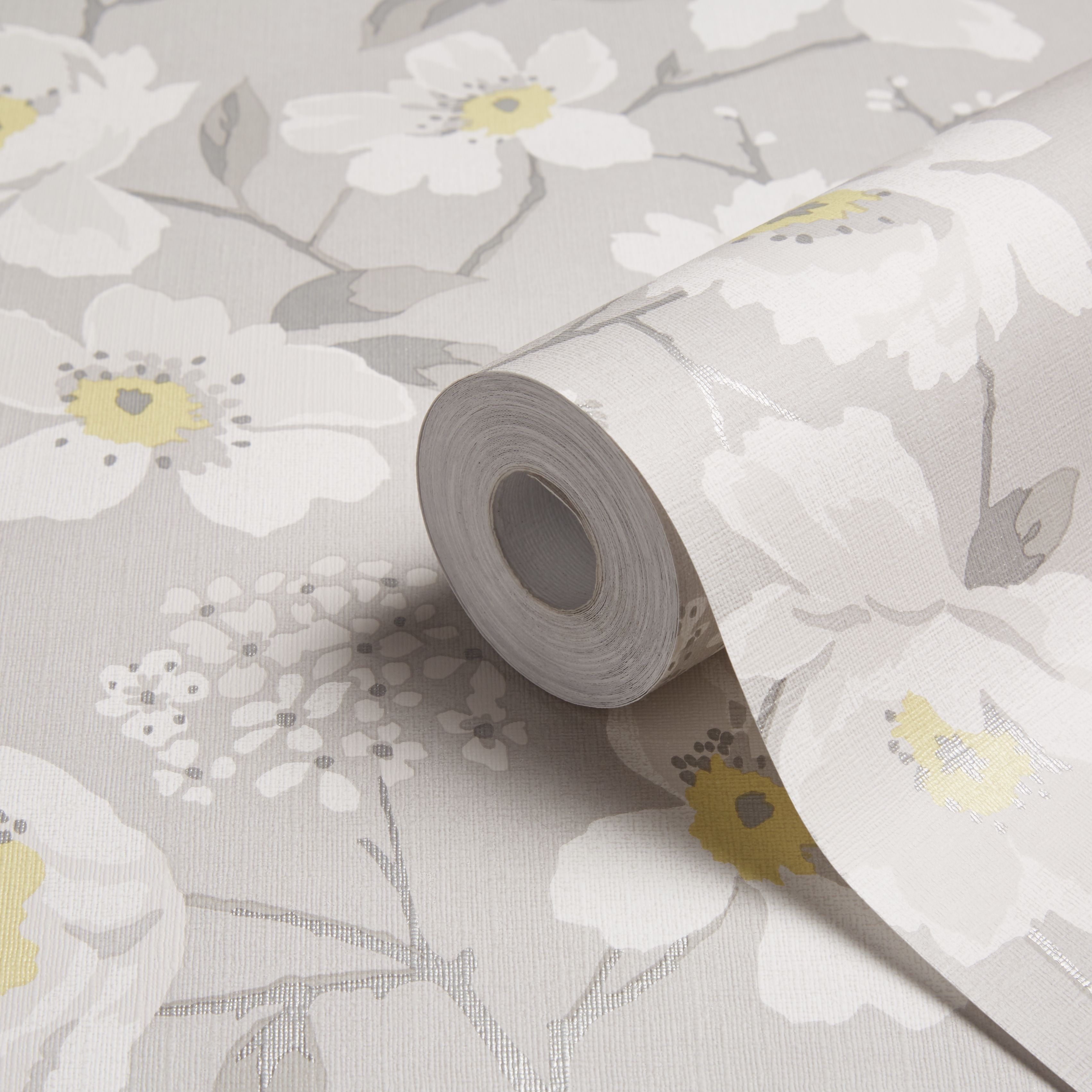 Colours Mandalyn Grey Floral Wallpaper