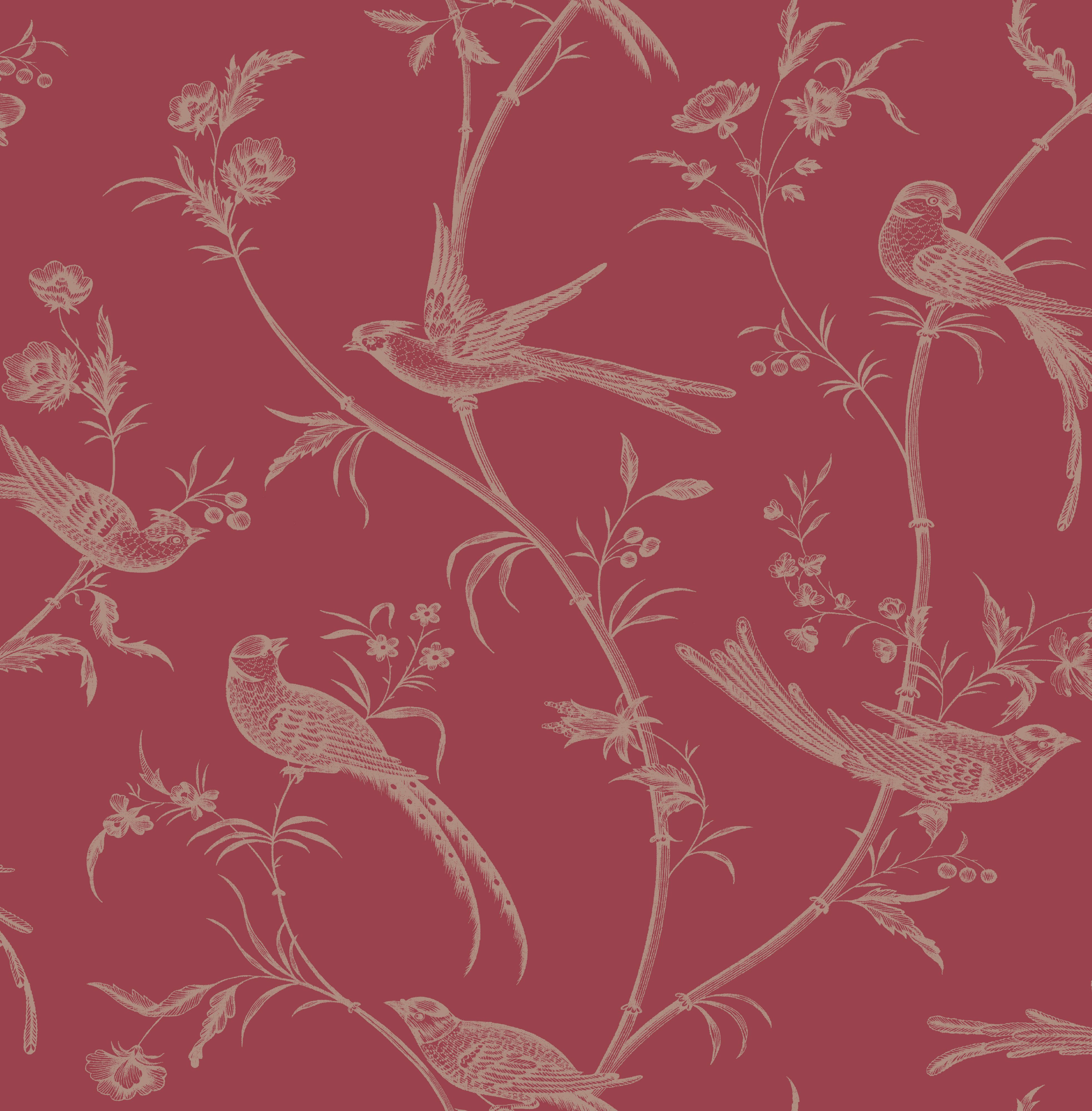 Colours Alberta Red Floral With Birds Metallic Effect Wallpaper