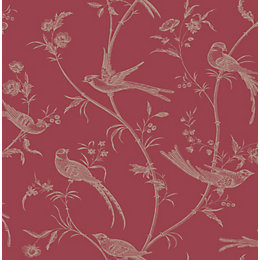 Colours Alberta Red Floral with Birds Metallic Effect
