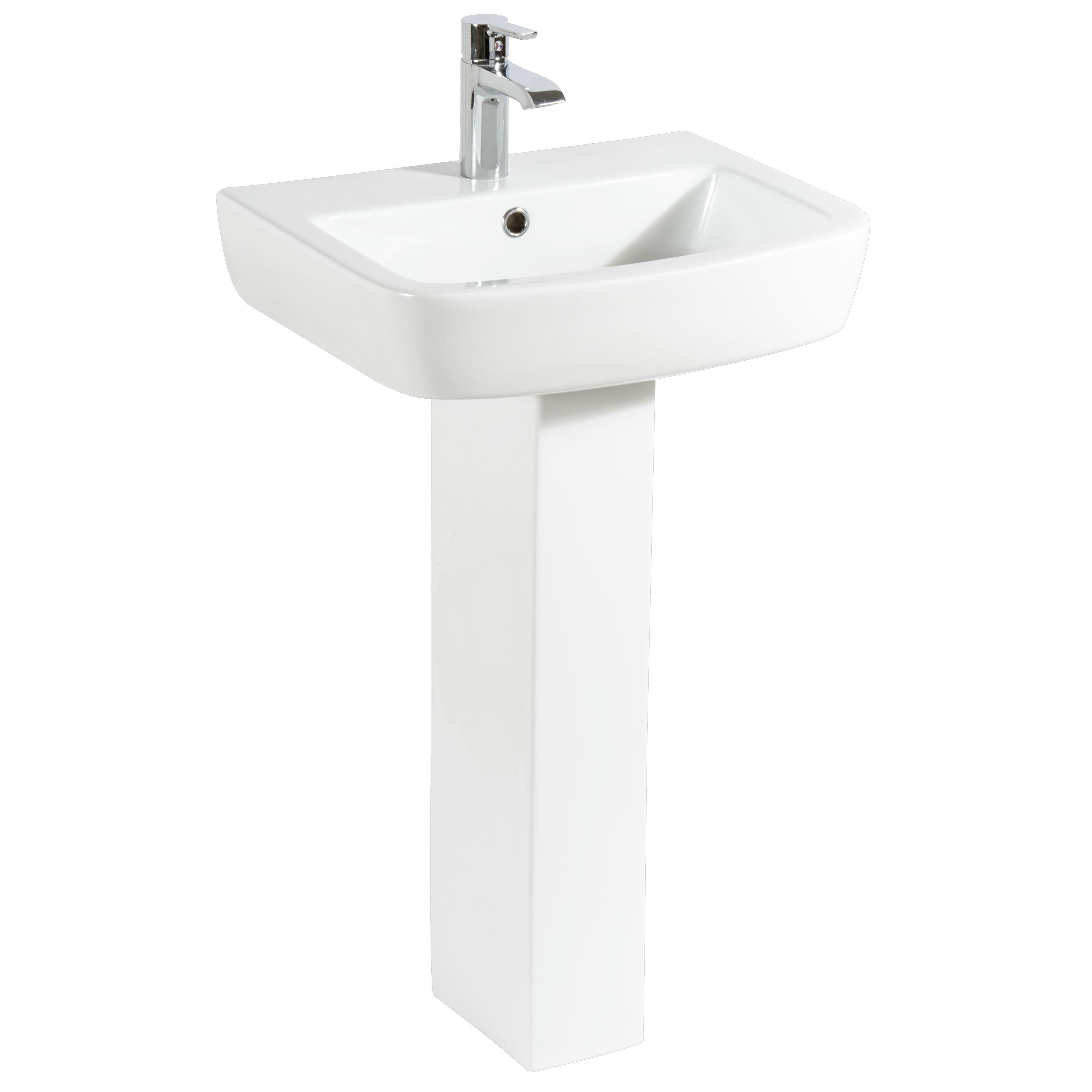 Bathroom Sinks B&Q Ireland cooke & lewis fabienne rectangular full pedestal basin