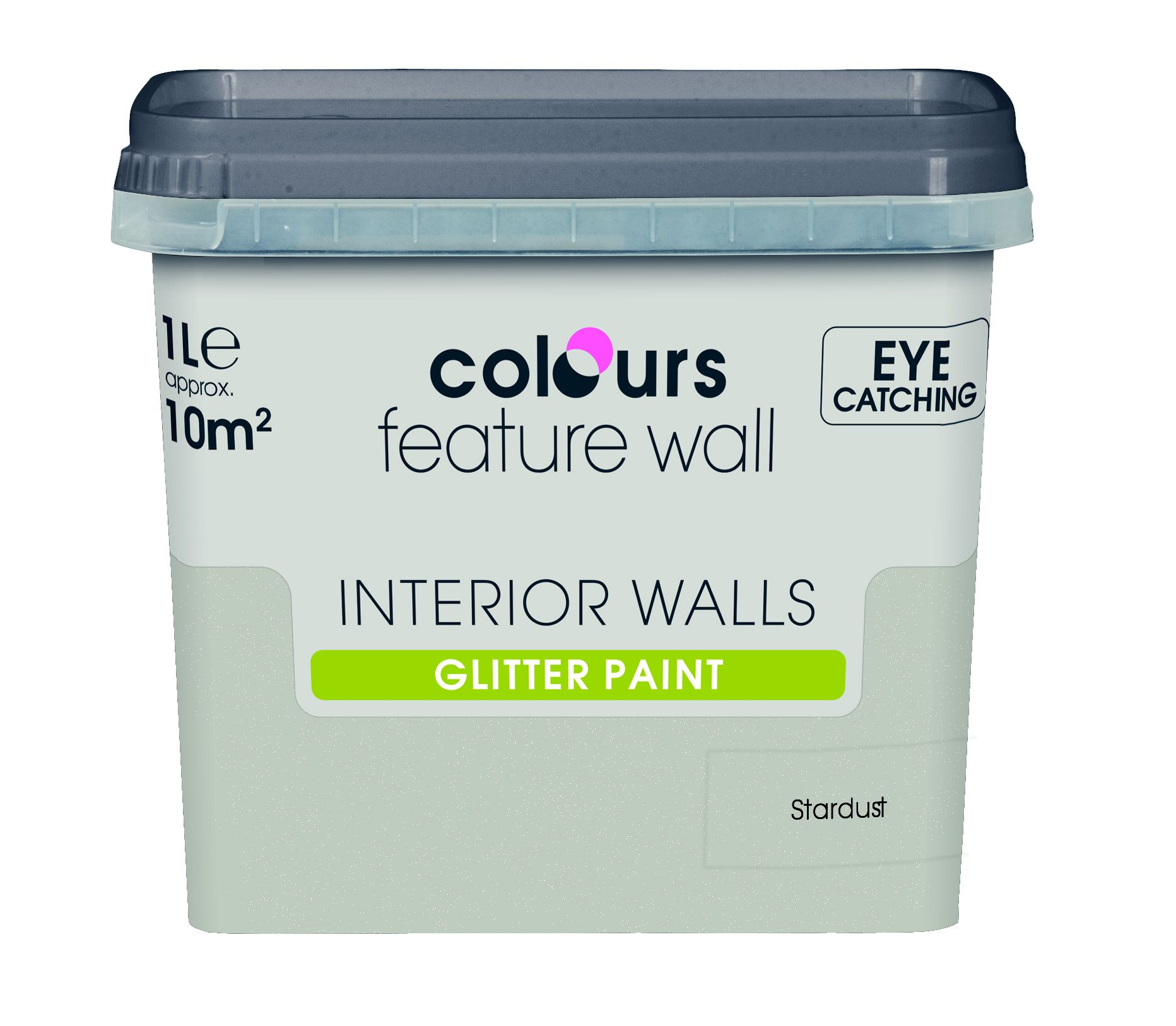 colours feature wall stardust glitter emulsion paint 1l. Black Bedroom Furniture Sets. Home Design Ideas
