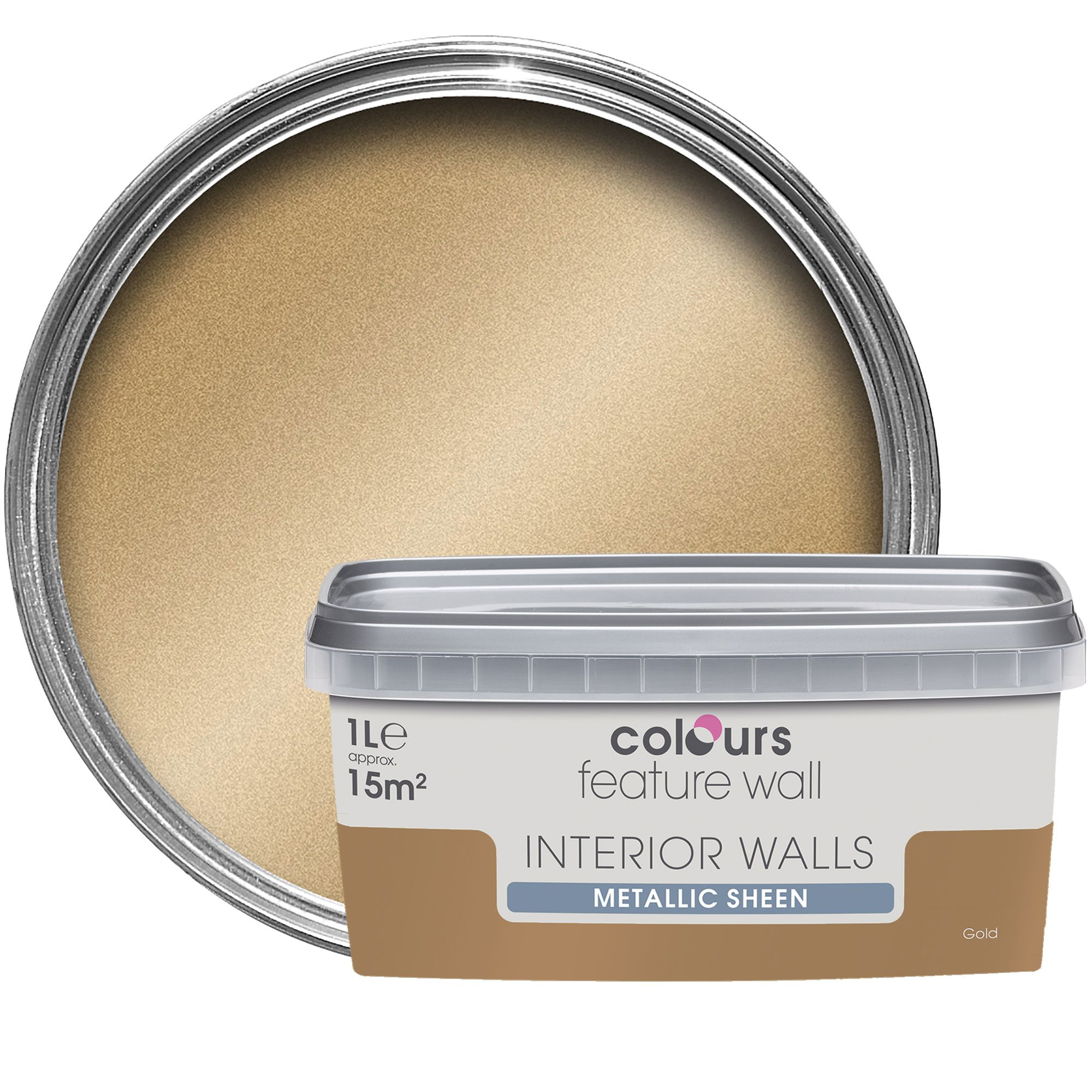 Colours Feature Wall Gold Effect Metallic Emulsion Paint 1l