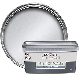 Colours Feature Wall Silver Effect Metallic Emulsion Paint