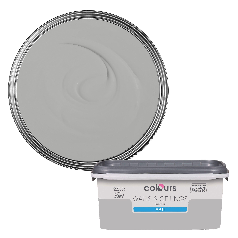 Colours Standard Platinum Matt Emulsion Paint 2 5l Departments Diy At B Q
