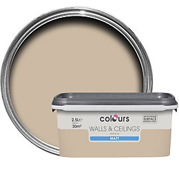 Colours Taupe Matt Emulsion Paint 2.5L