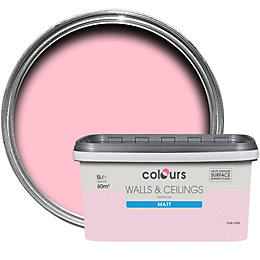 Colours Pink Pink Matt Emulsion Paint 5L
