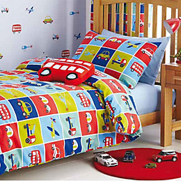 Kids Colours Transport Transport Multicolour Single Duvet Set