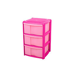 Form Pink Plastic 3 Drawer Tower Unit