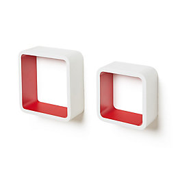 White & Red Cube Shelf (L)261mm (D)261mm, Pack