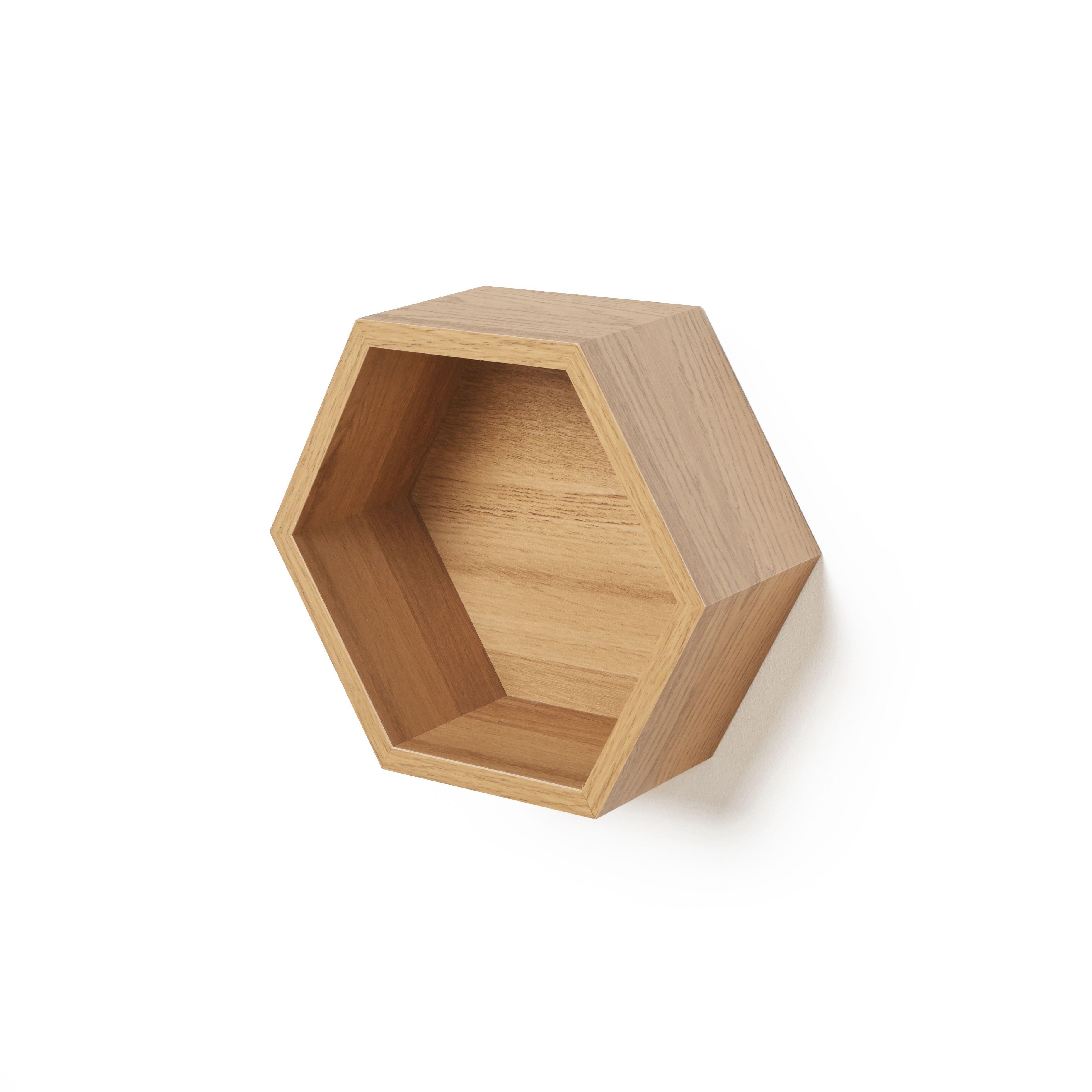 Natural Oak Effect Hexagon Shelf (L)270mm (D)270mm | Departments | DIY at  B&Q