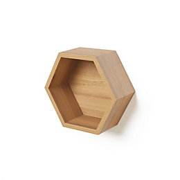 Natural Oak Effect Hexagon Shelf (L)270mm (D)270mm
