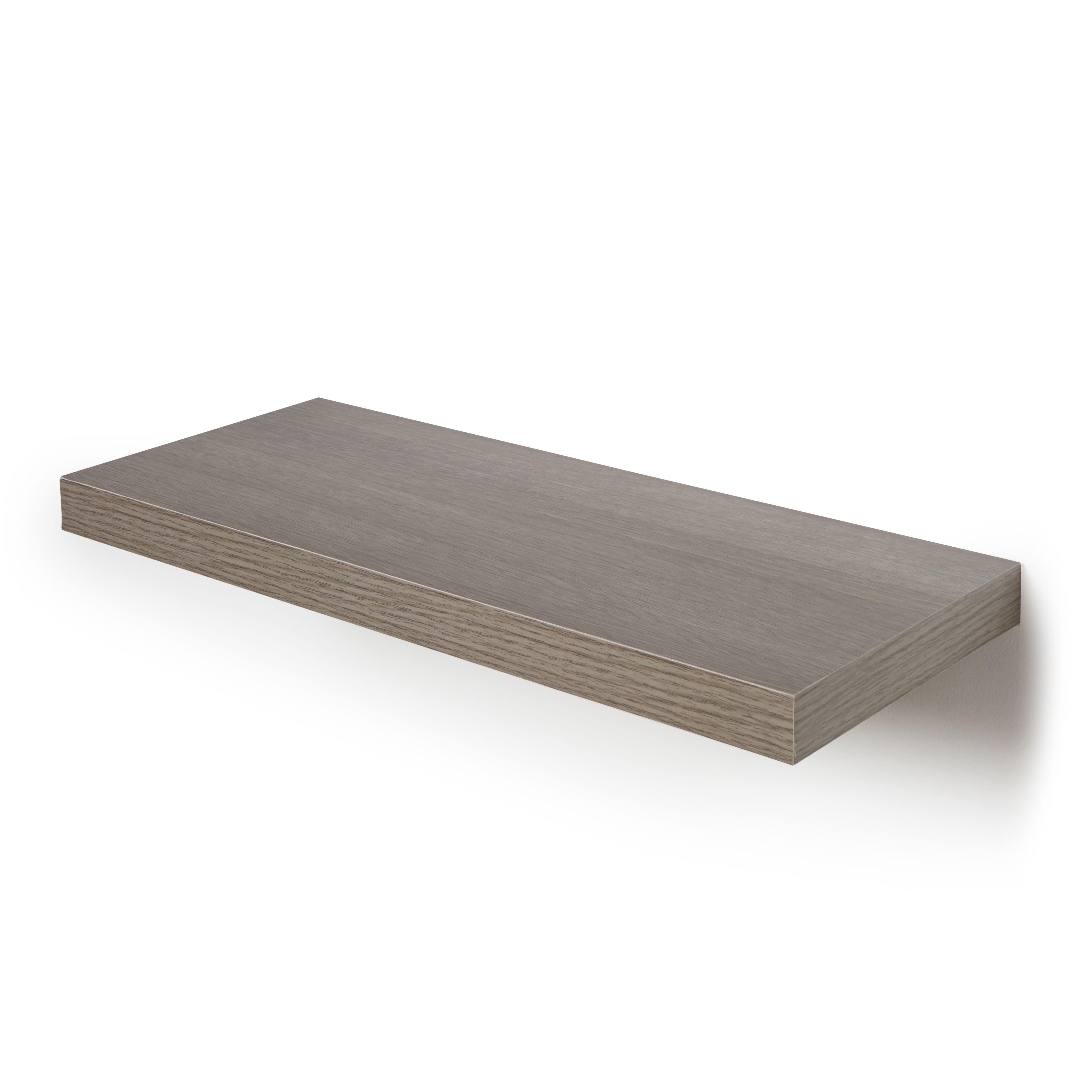 Grey Oak Effect Floating Shelf (l)602mm (d)237mm