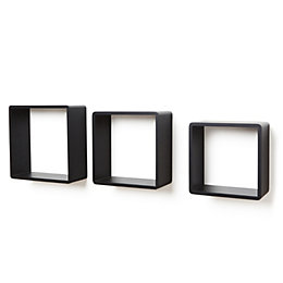 Black Cube Shelf (L)300mm (D)120mm, Pack of 3