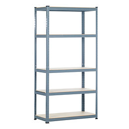 Raxa Power 5 Shelf Chipboard & Steel Shelving